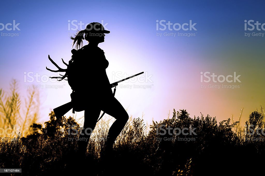 Young Lady Hunter stock photo