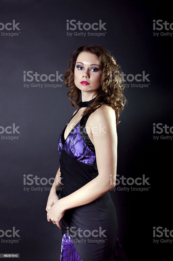Young lady in evening gown royalty-free stock photo