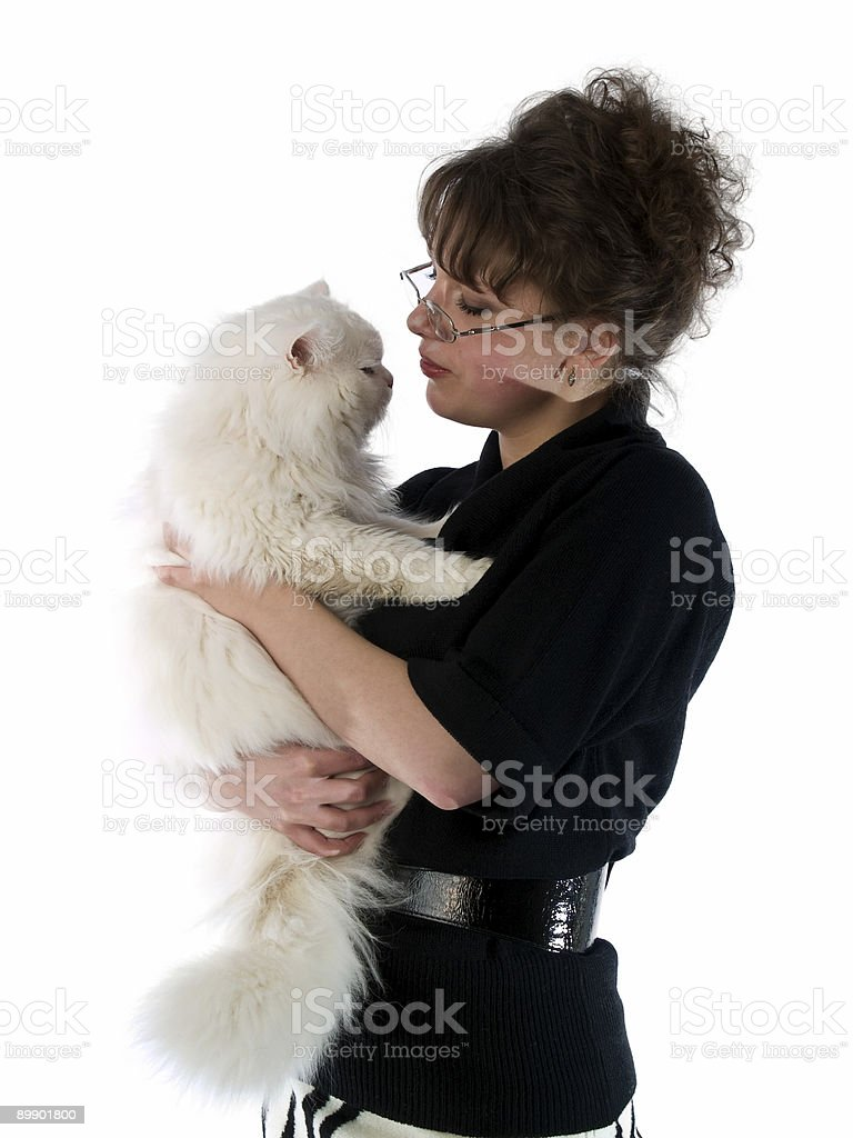 Young Lady in glasses holding cat royalty-free stock photo