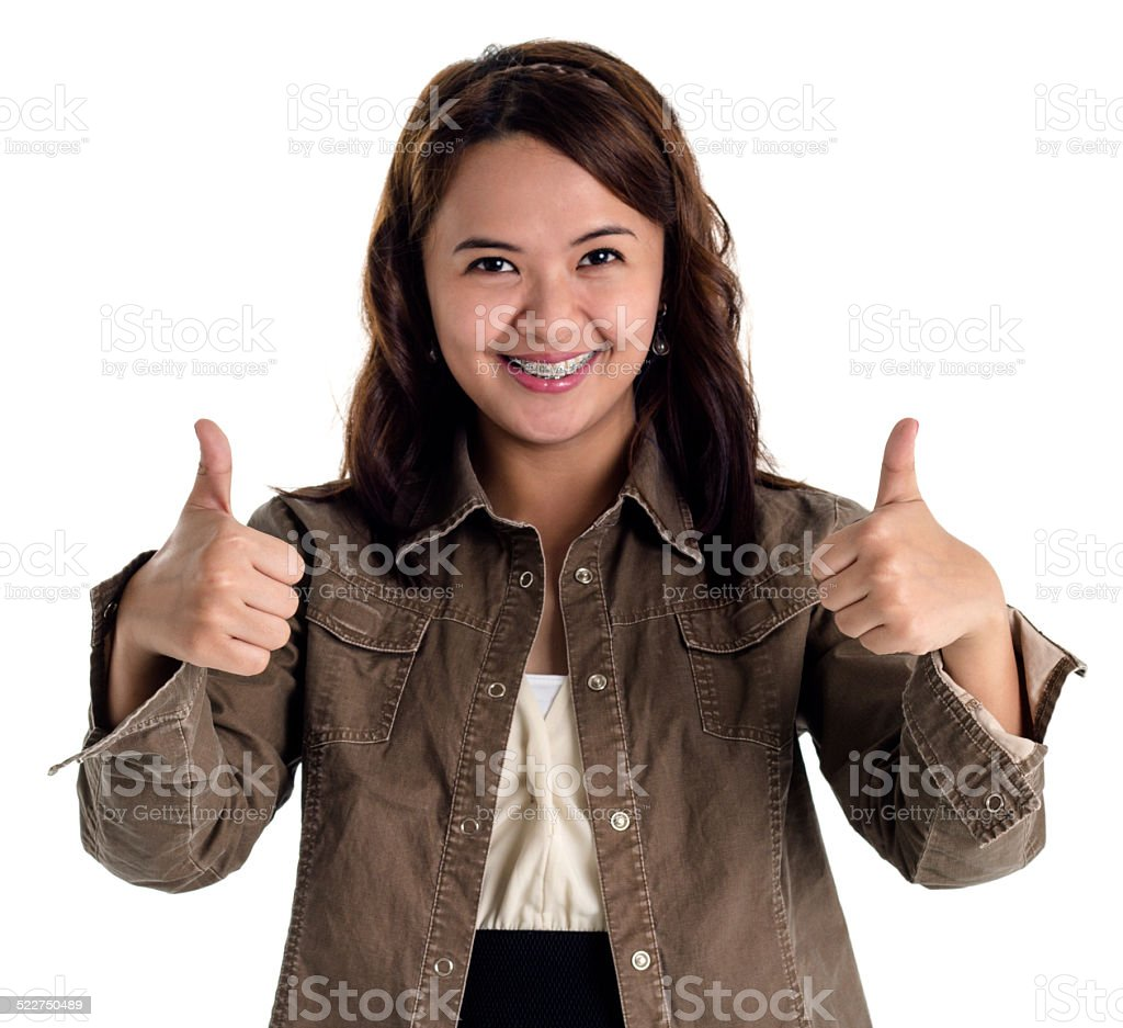 young lady making gestures stock photo
