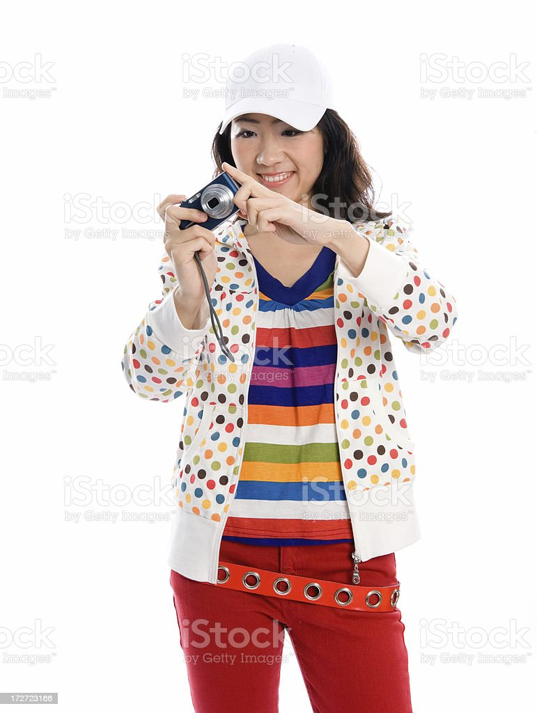 Young lady photographing royalty-free stock photo