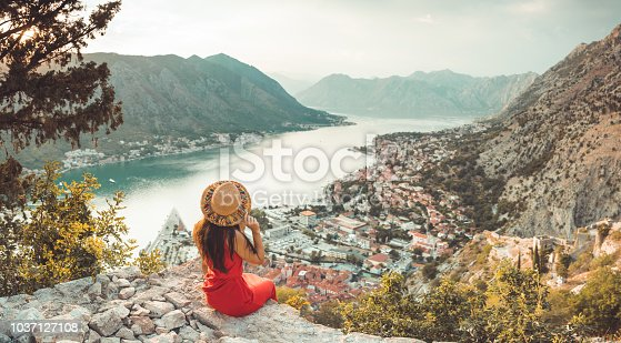 Young Lady relax over Kotor, Montenegro Holiday  destination