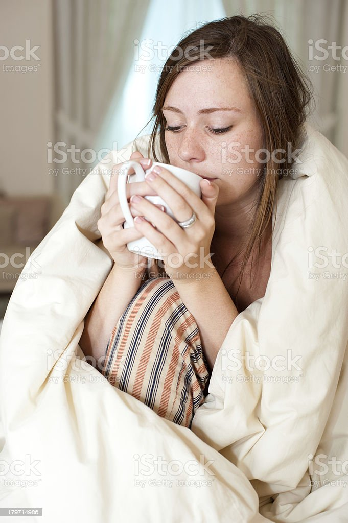 Young lady waking up royalty-free stock photo