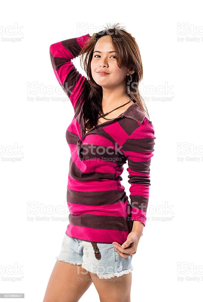 young lady wearing striped dress stock photo