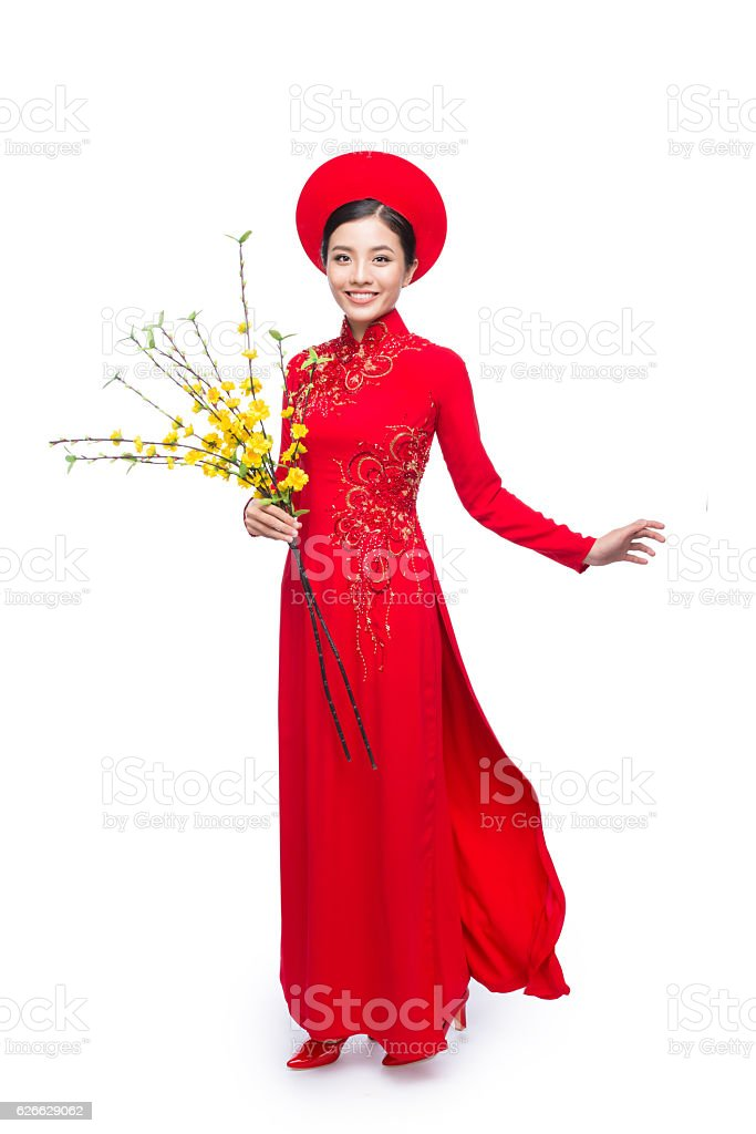 Young lady with flowers stock photo