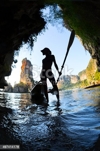 istock Young lady with the kayak 497414178