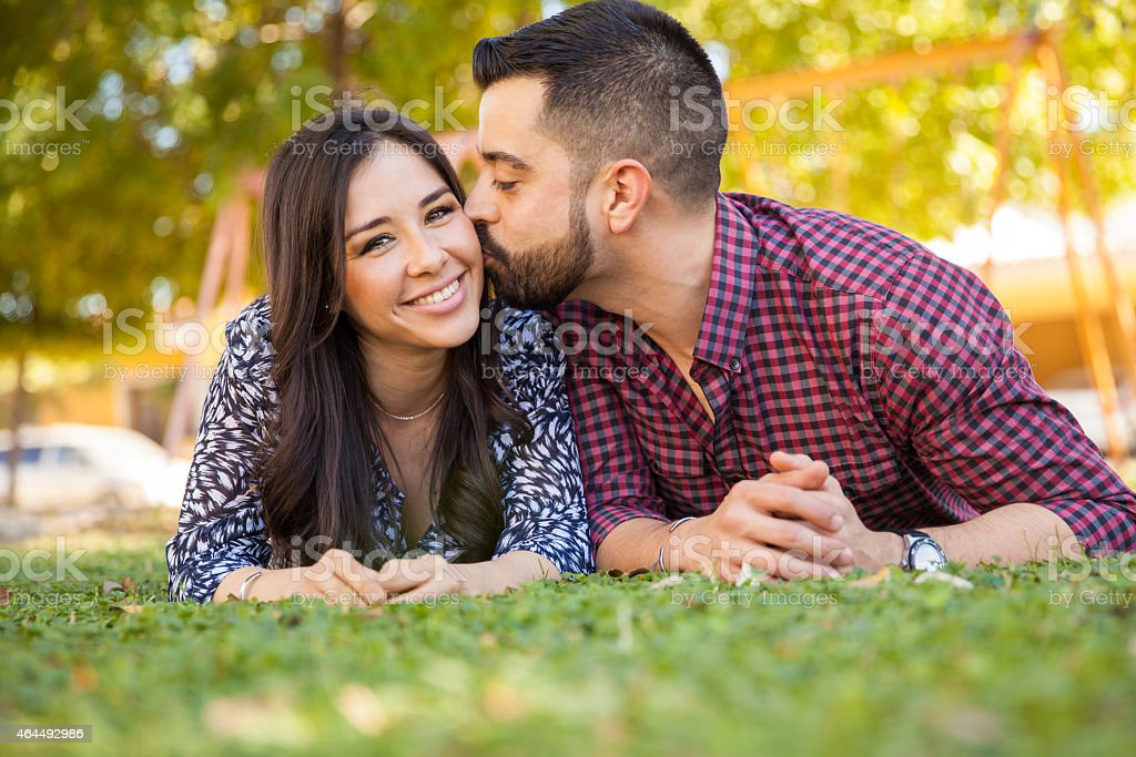 Young Latin couple in love stock photo