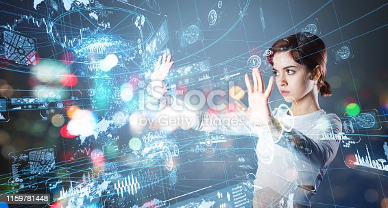 istock Young latina girl looking hologram screens. Streaming video. Social media. 1159781448