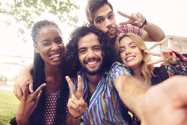 Young latino people having a day together in Cuba stock photo