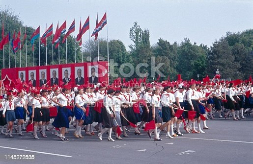 Soviet Union (Caucasus, Asia), 1978. Young Lenin Pioneers from all Soviet Republics in a parade in honor of the party leadership of the CPSU in the former Soviet Union.