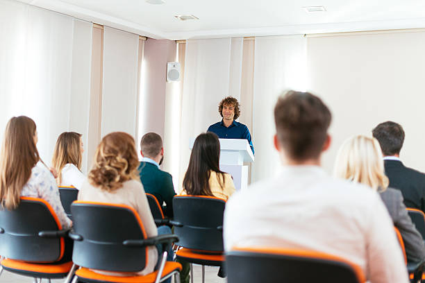 Young Life Coach Speaks On The Conference Stock Photo & More