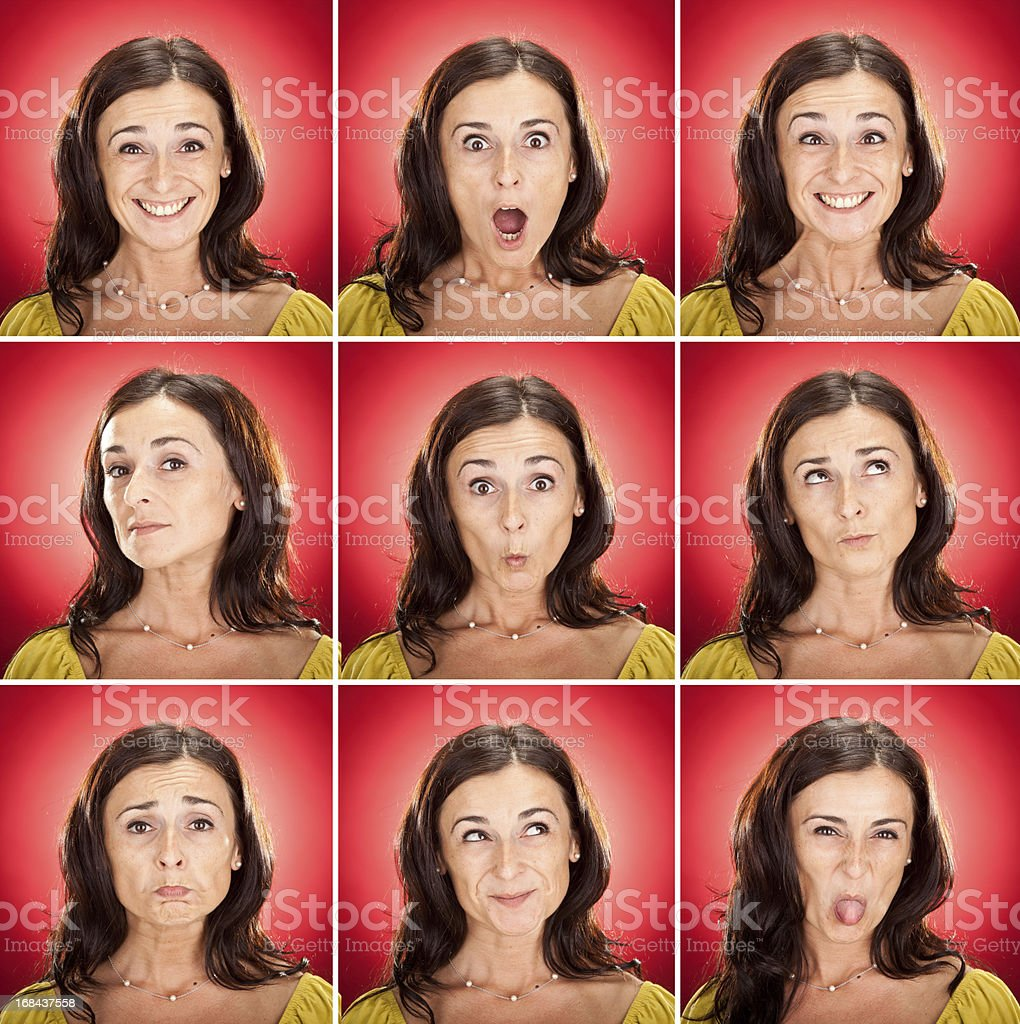 young long hair girl mood set on red royalty-free stock photo