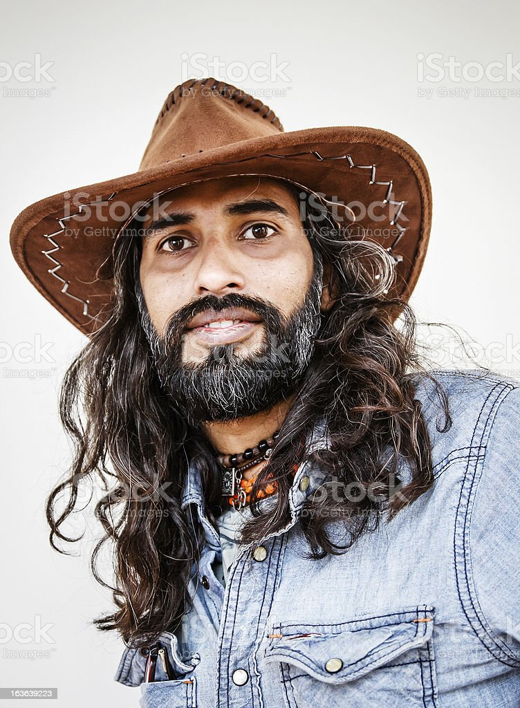 efd312ebfd665 Young Long Haired Asian Man Portrait Wearing Cowboy Hat Stock Photo ...