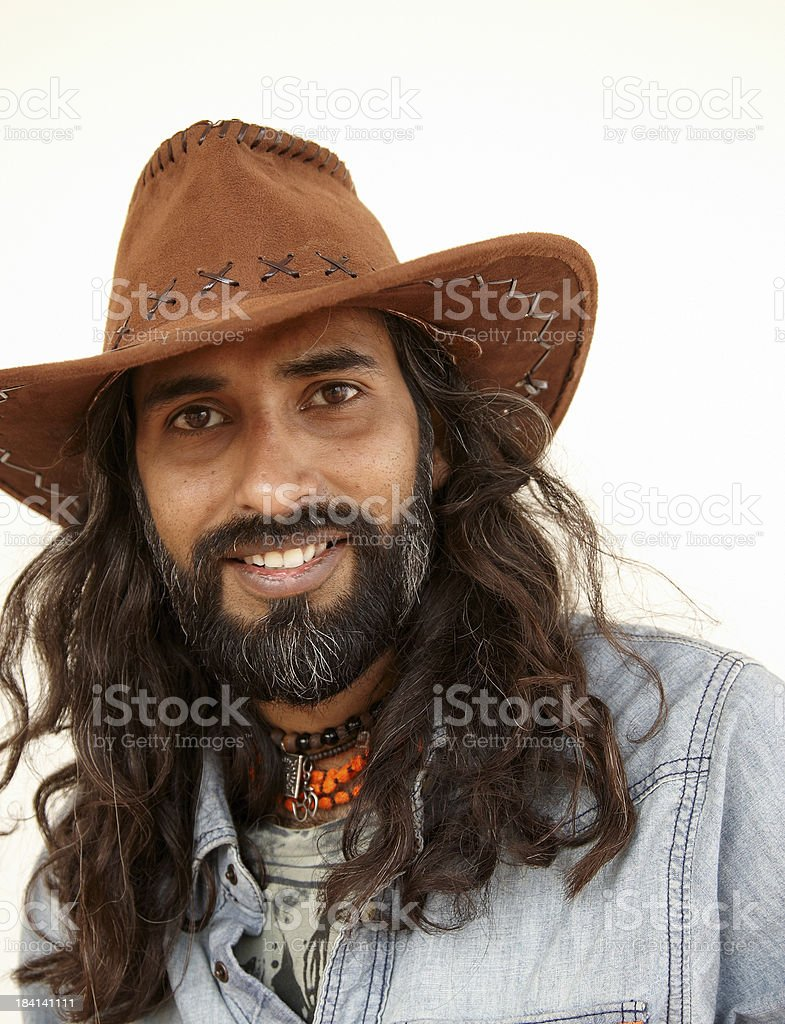 e0de2dba957 Young Long Haired Asian Man Portrait Wearing Cowboy Hat Stock Photo ...