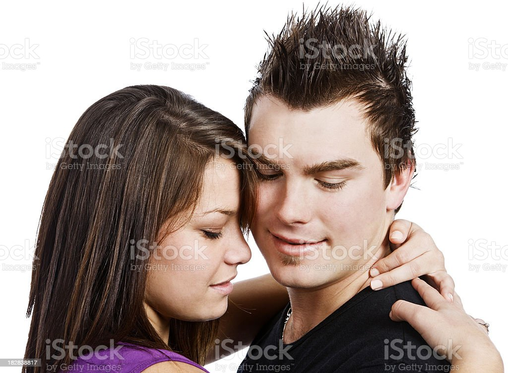 Young love: a tender moment stock photo