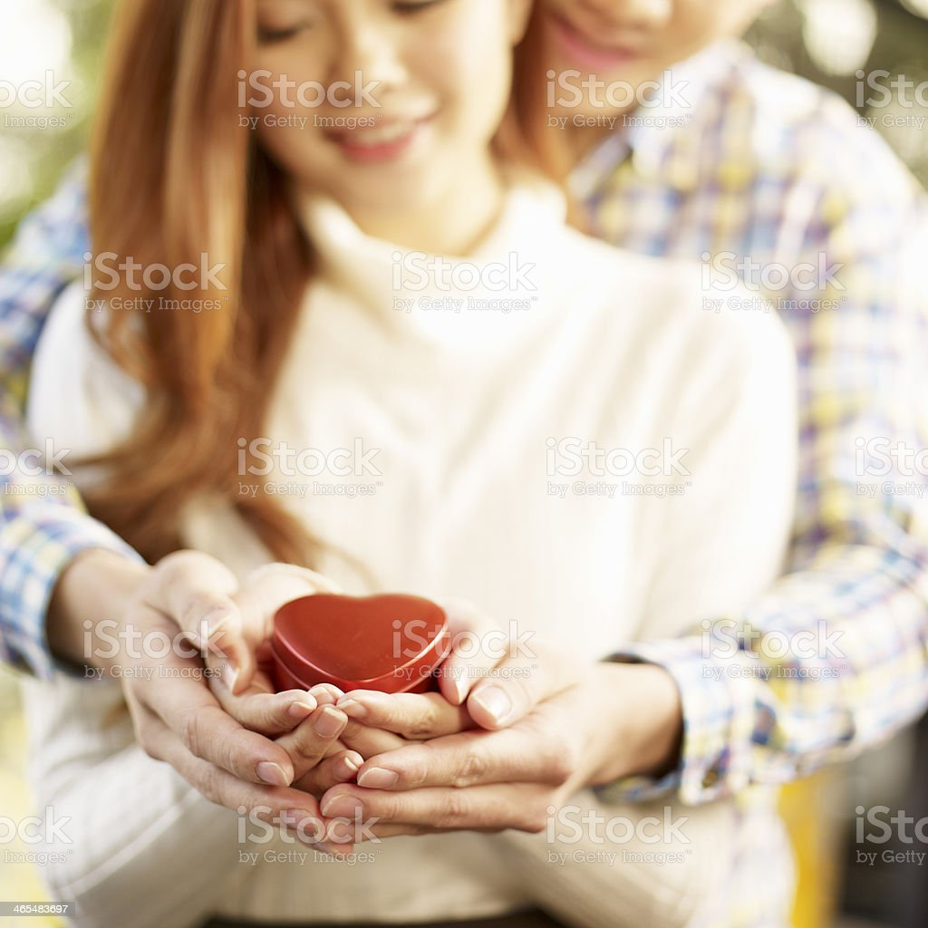 young loving asian couple royalty-free stock photo