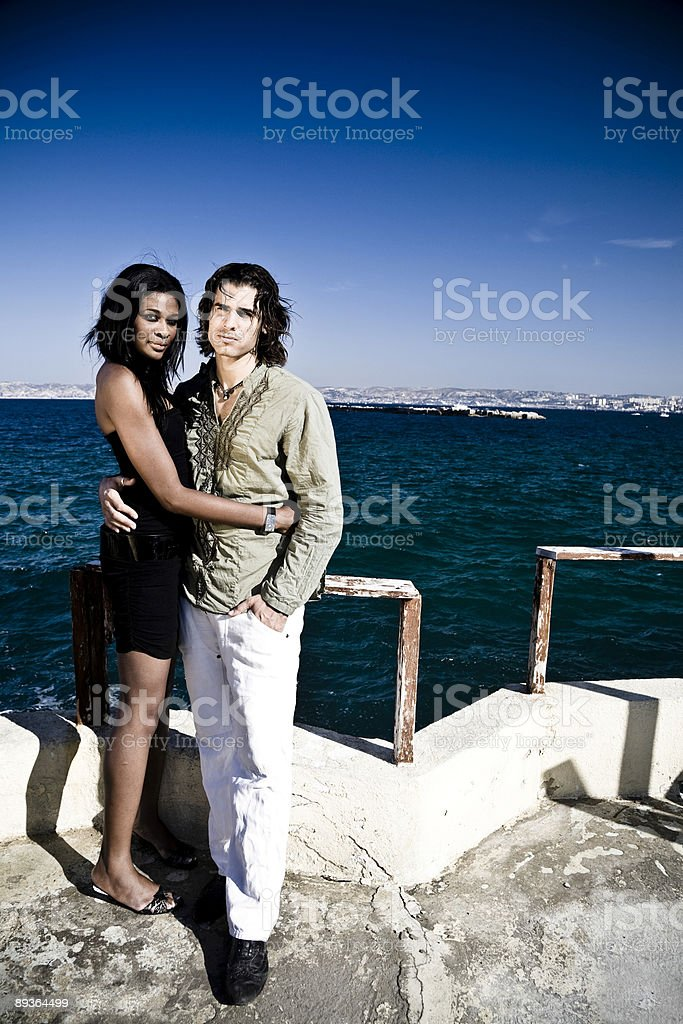 young loving couple at the seaside royalty-free stock photo