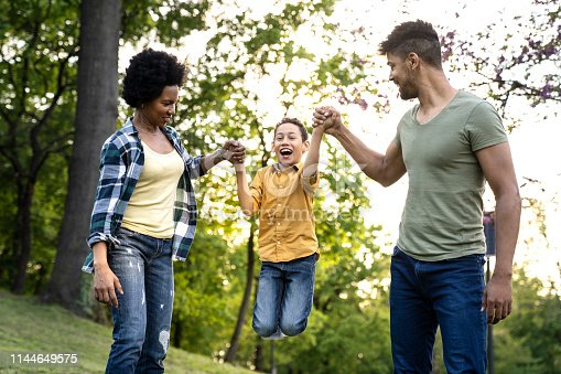 istock Young loving family having fun in the park 1144649575