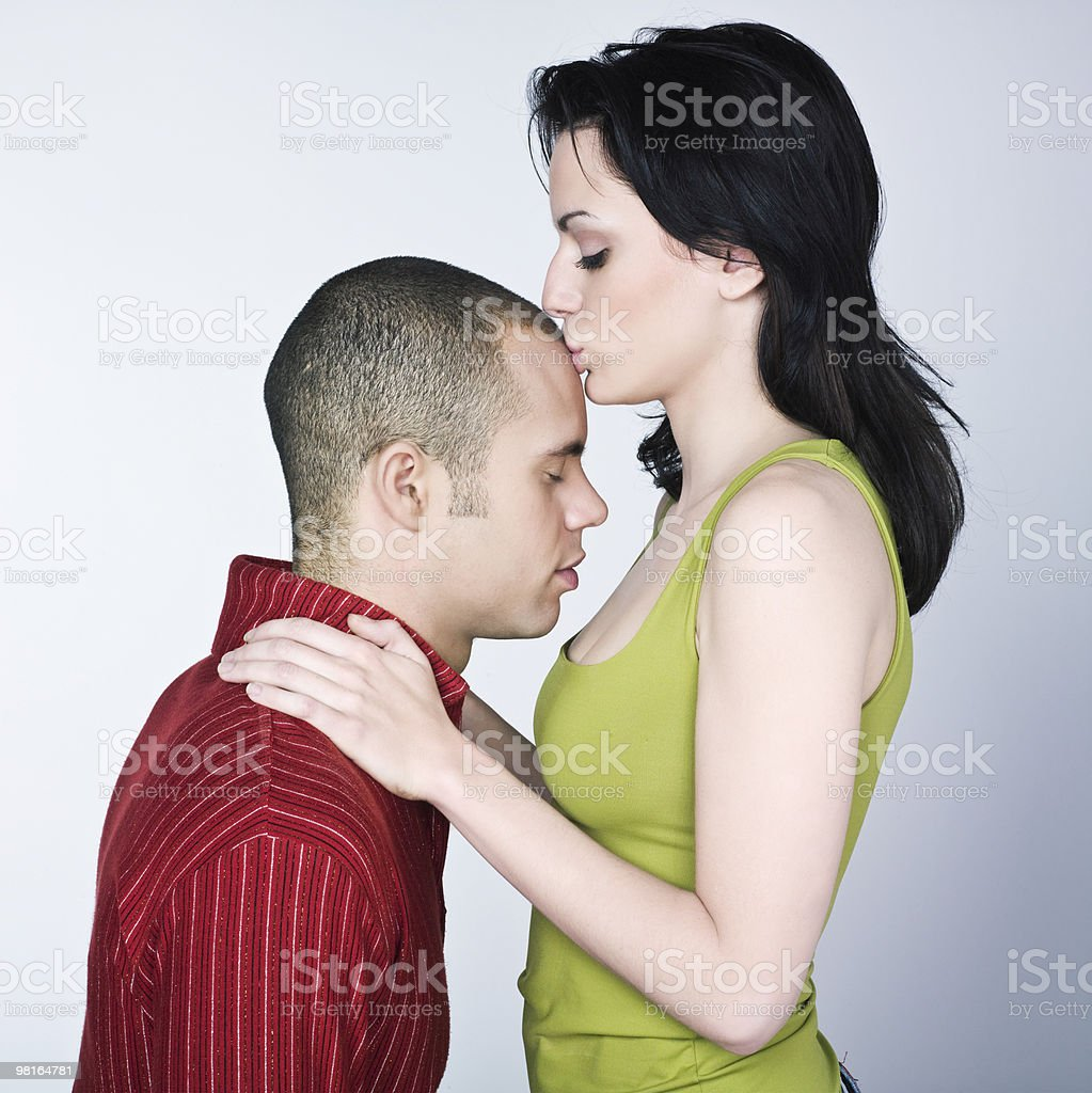 young loving kissing couple royalty-free stock photo