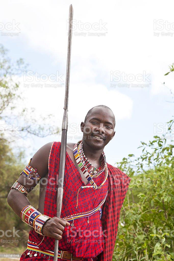 Young Maasai Warrior With Spear In Porini Kenya Stock Photo