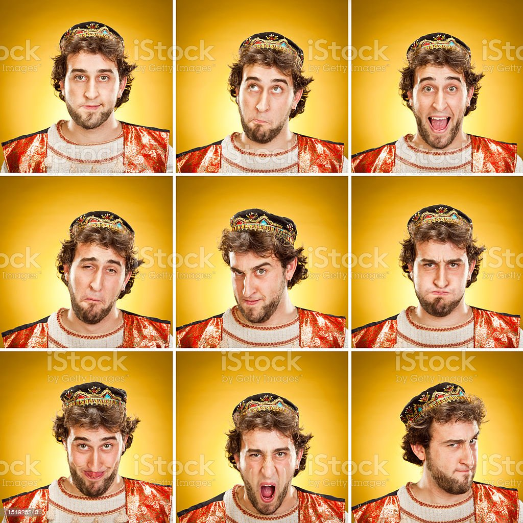 young mage with beard portraits expression set on yellow royalty-free stock photo