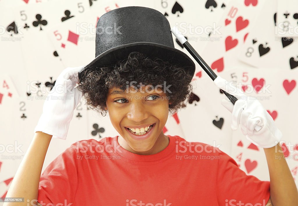 young magician stock photo