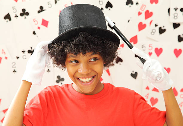 young magician A 12 year old magician magic trick stock pictures, royalty-free photos & images