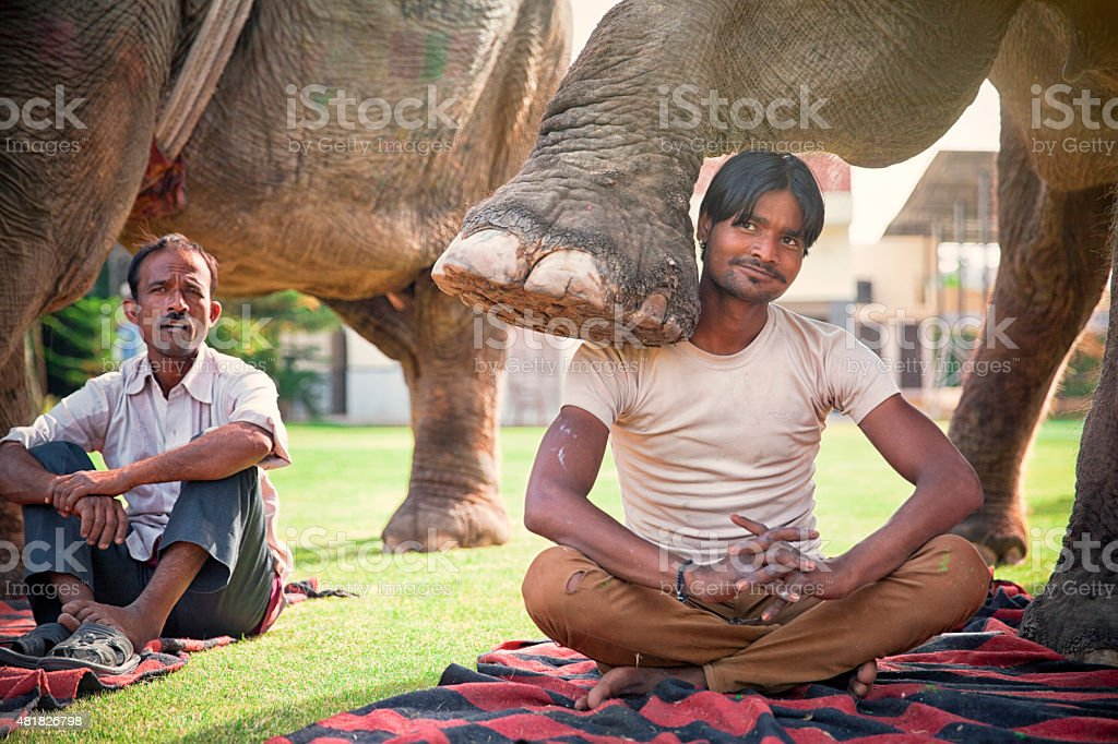 Young Mahout showing off. India. stock photo