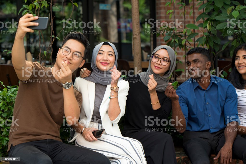 Young malaysian friends royalty-free stock photo
