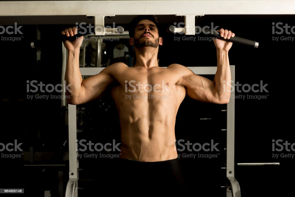 Young male adults doing pull ups in the gym royalty-free stock photo