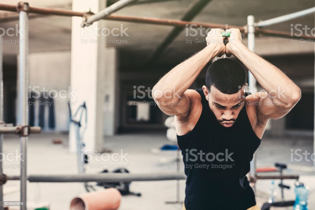 Young Male Athlete Boxing Training stock photo