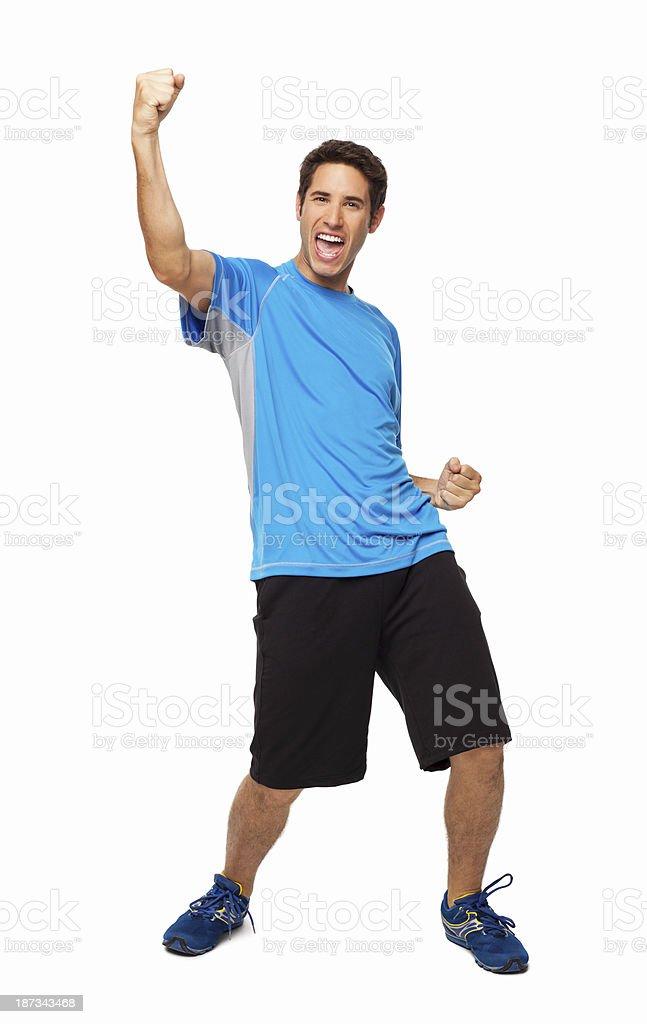 Young Male Athlete Celebrating - Isolated stock photo