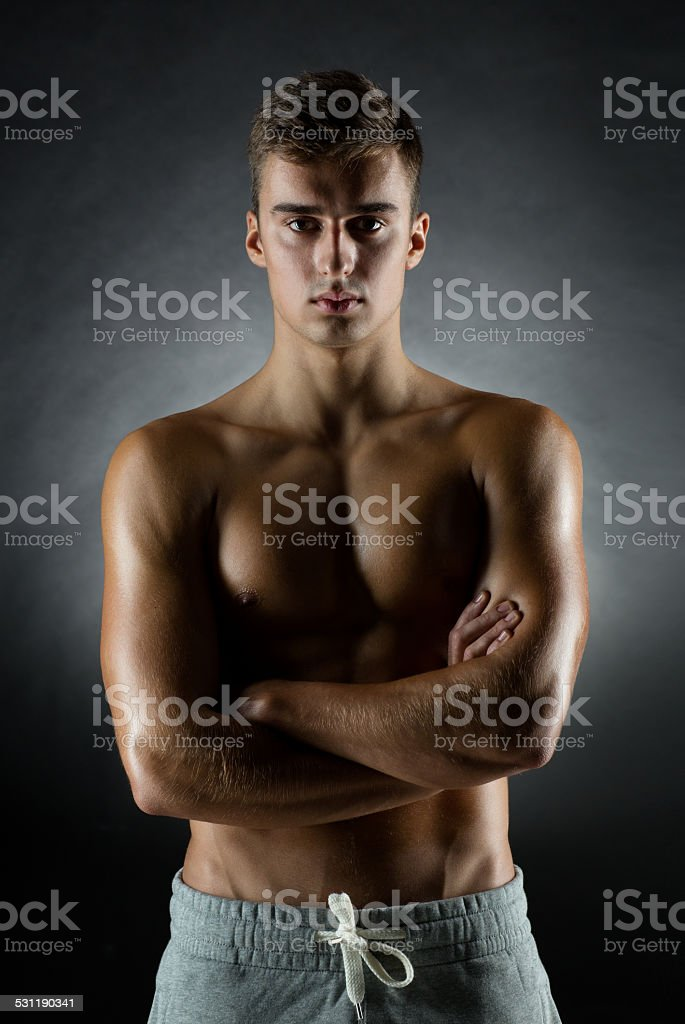 young male bodybuilder stock photo