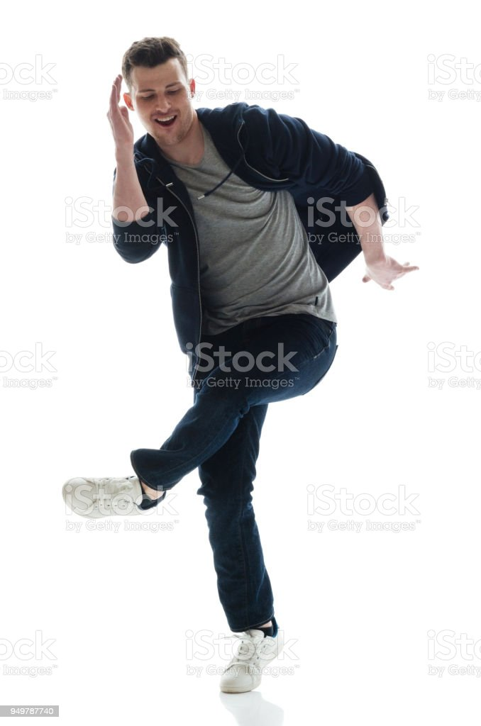 Young male break dancing stock photo