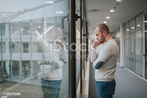 626916886istockphoto Young male businessman thinking outside his office 1135575339