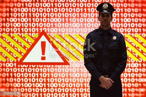 istock Young male computer programmer standing wearing hat and using computer 1203424230