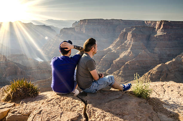 Young Male Couple Looking Into Grand Canyon Arizona, USA - January 24, 2014: A young male couple looking into the Grand Canyon in Arizona, USA. gay man stock pictures, royalty-free photos & images