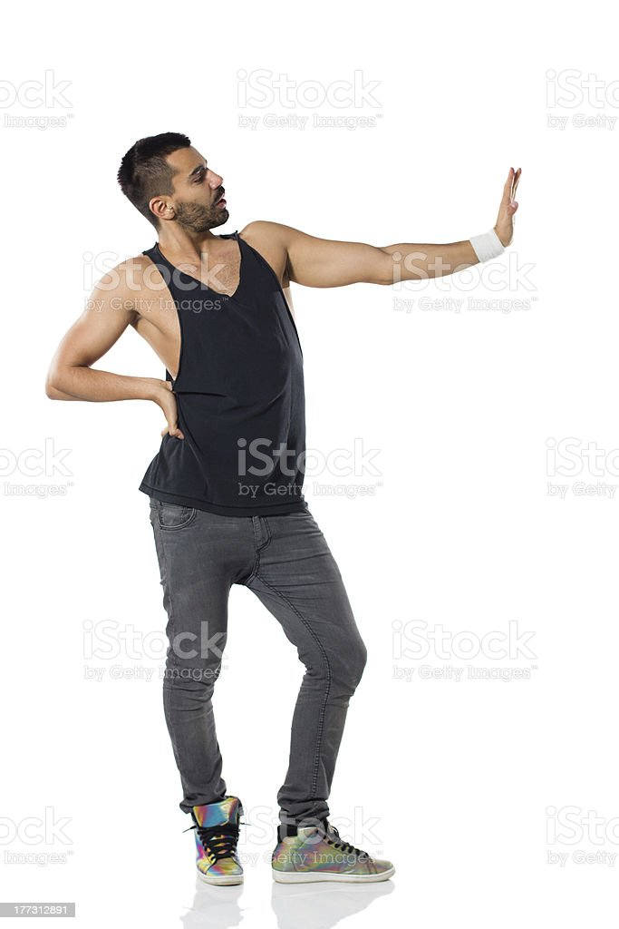 Young male dancer posing stock photo