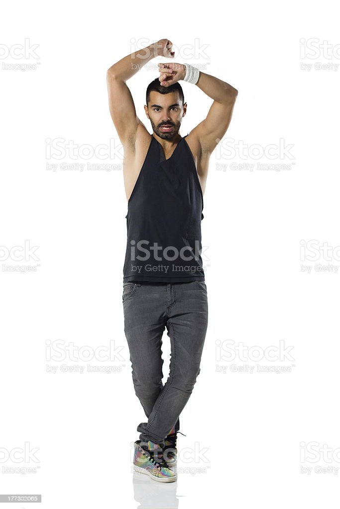Young male dancing stock photo