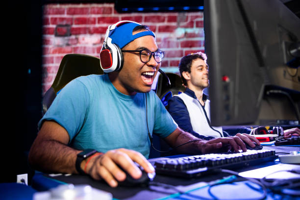 Young male esports gamers stock photo