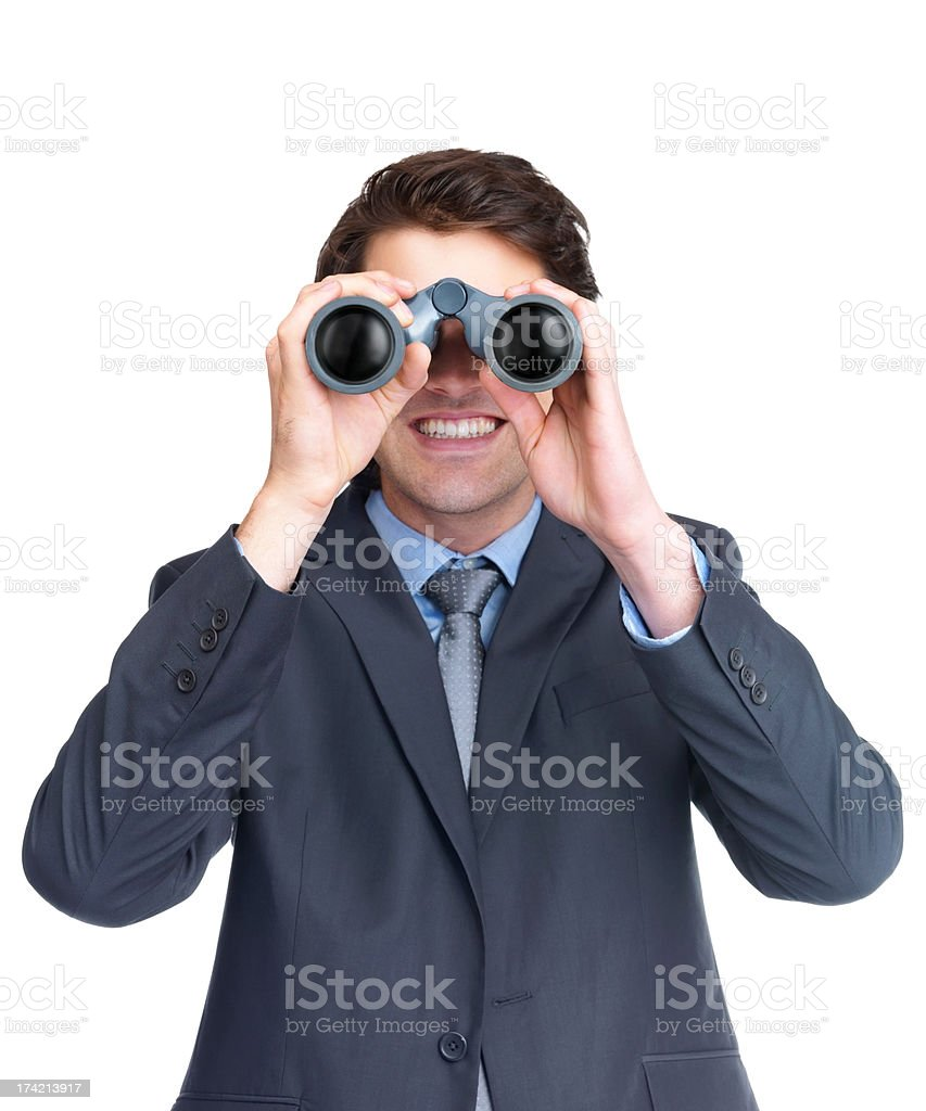 Young male executive searching for business opportunities royalty-free stock photo