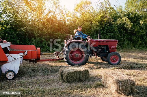 Young adult farmer driving his old tractor in the field. Agriculture concept.