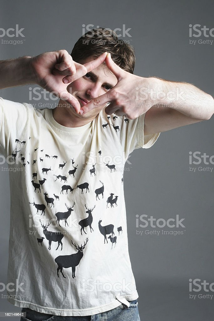 Young male framing royalty-free stock photo