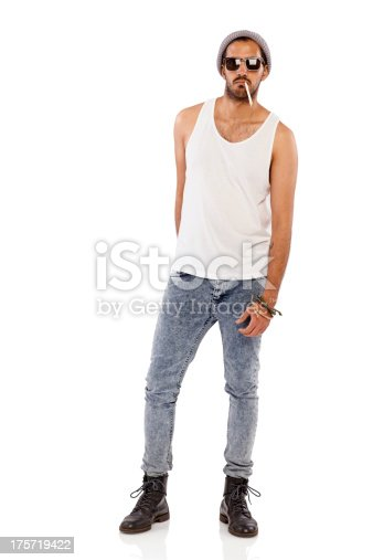 istock Young male gangster smoking cigarette 175719422