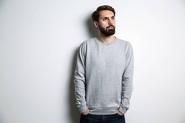 young male long sleeves - sweatshirt stock photos and pictures