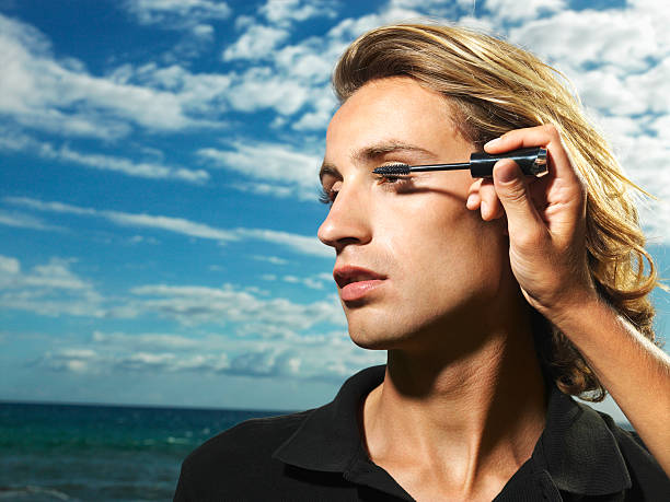 Young Male Mascara Applied stock photo