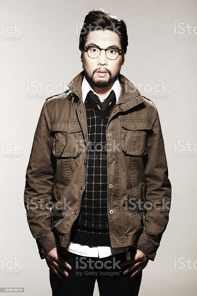 Young Male Model Wearing modern clothing and Glasses royalty-free stock photo