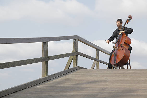 Young male musician playing double bass on jetty (XXXL) stock photo