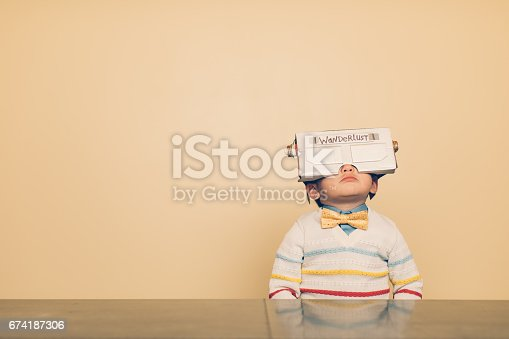 istock Young Male Nerd with Virtual Reality Headset 674187306