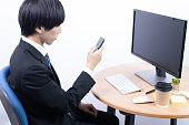 istock Young male office worker 1279084448